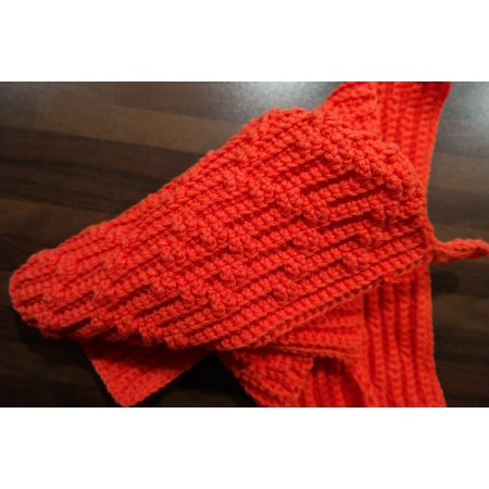 Laminated Poster Oven Mitts Wool Fabric Crochet Red Poster 24x16