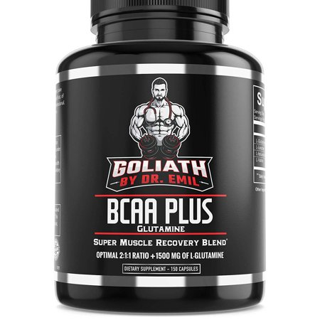 Goliath by Dr. Emil BCAA Plus with L Glutamine - Branch Chain Amino Acids with Optimal 2:1:1 Ratio - Enhanced Muscle Recovery & Growth