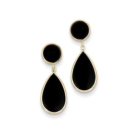 (ICE CARATS 14kt Yellow Gold Black Onyx Teardrop Drop Dangle Chandelier Post Stud Earrings Fine Jewelry Ideal Gifts For Women Gift Set From Heart)