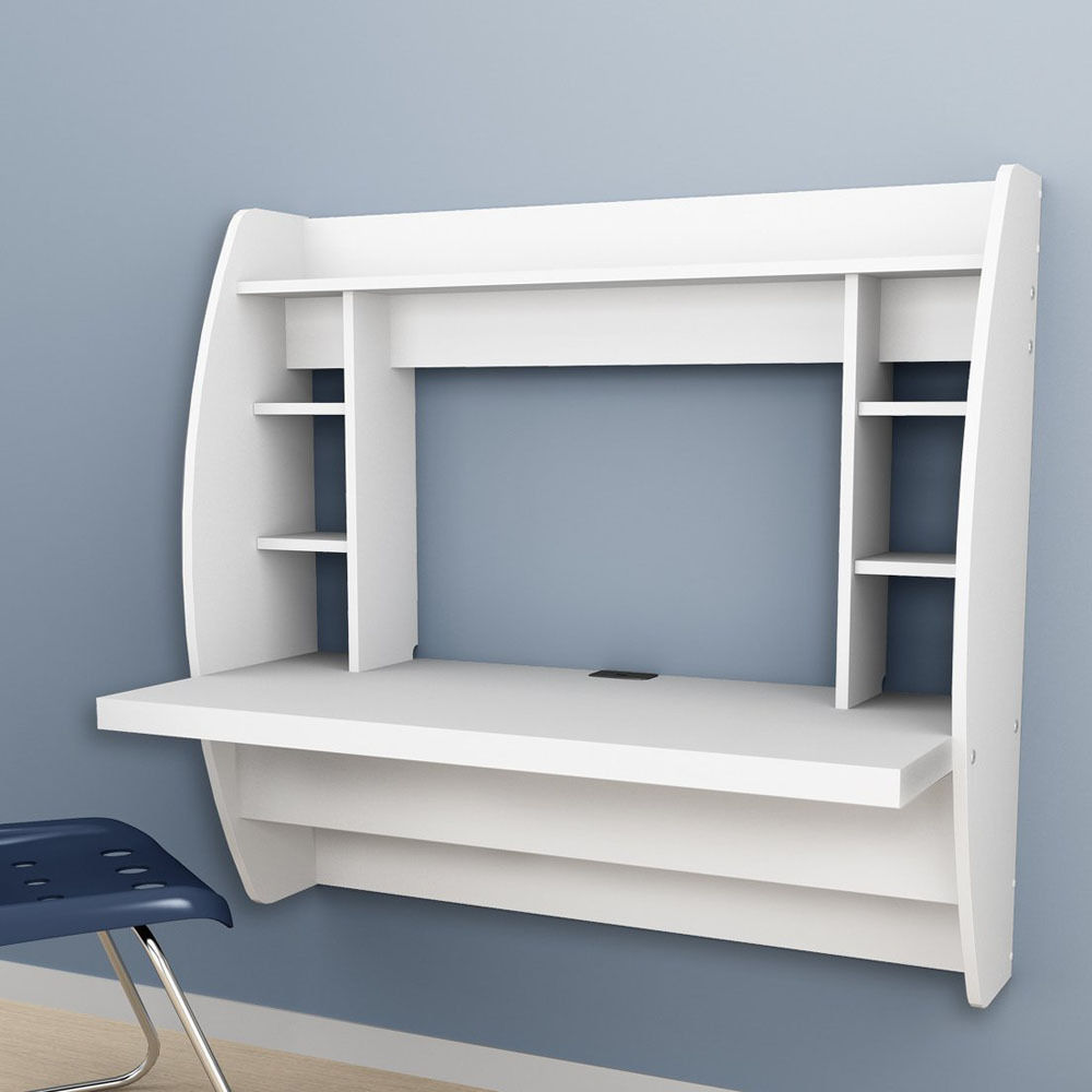 Zimtown Wall Mounted Computer Desk Floating Office Home PC Table with Storage Shelf (White)