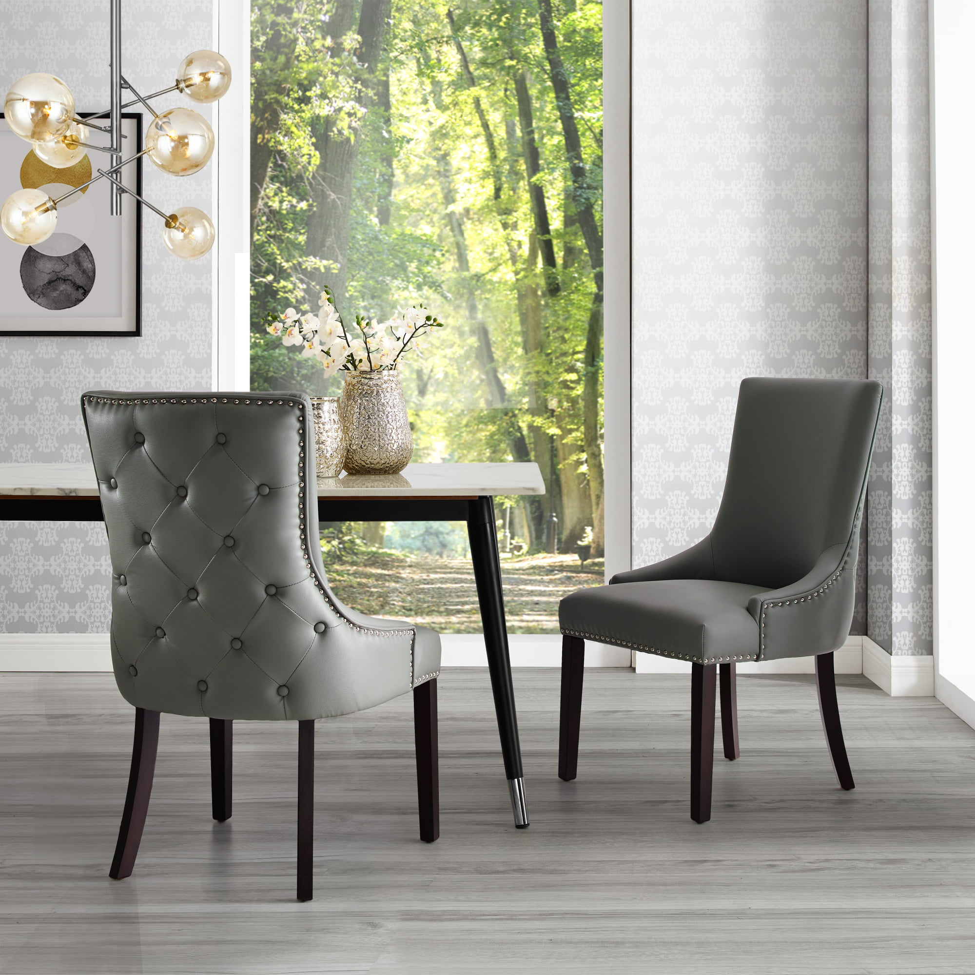 Annabelle Light Grey Leather PU Dining Chair - Set of 2 ...