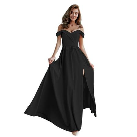 Women Formal Maxi Dress Spagehtti Strap Cold Shoulder V-neck Pleated Split Zipper Elegant Evening Party Prom Ball Gown Formal Cocktail Long Dress