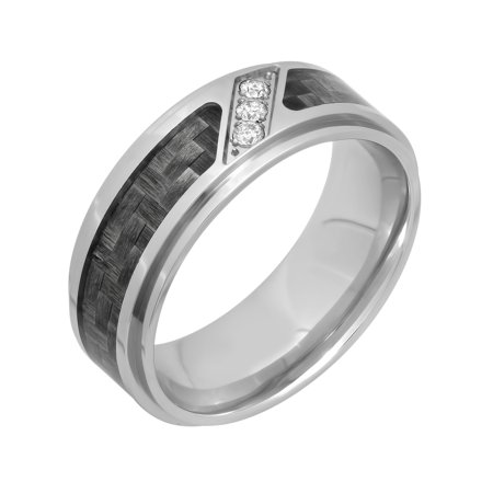Men's Diamond Accent Stainless Steel with Gray Carbon Fiber Ring, 8mm