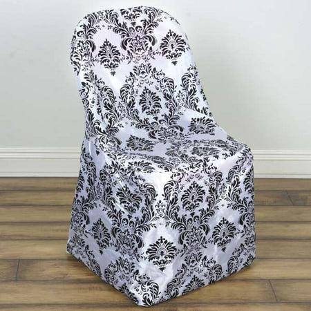 Damask Velvet Flocking Wedding Folding Chair Covers, - Damask Chair Slipcover