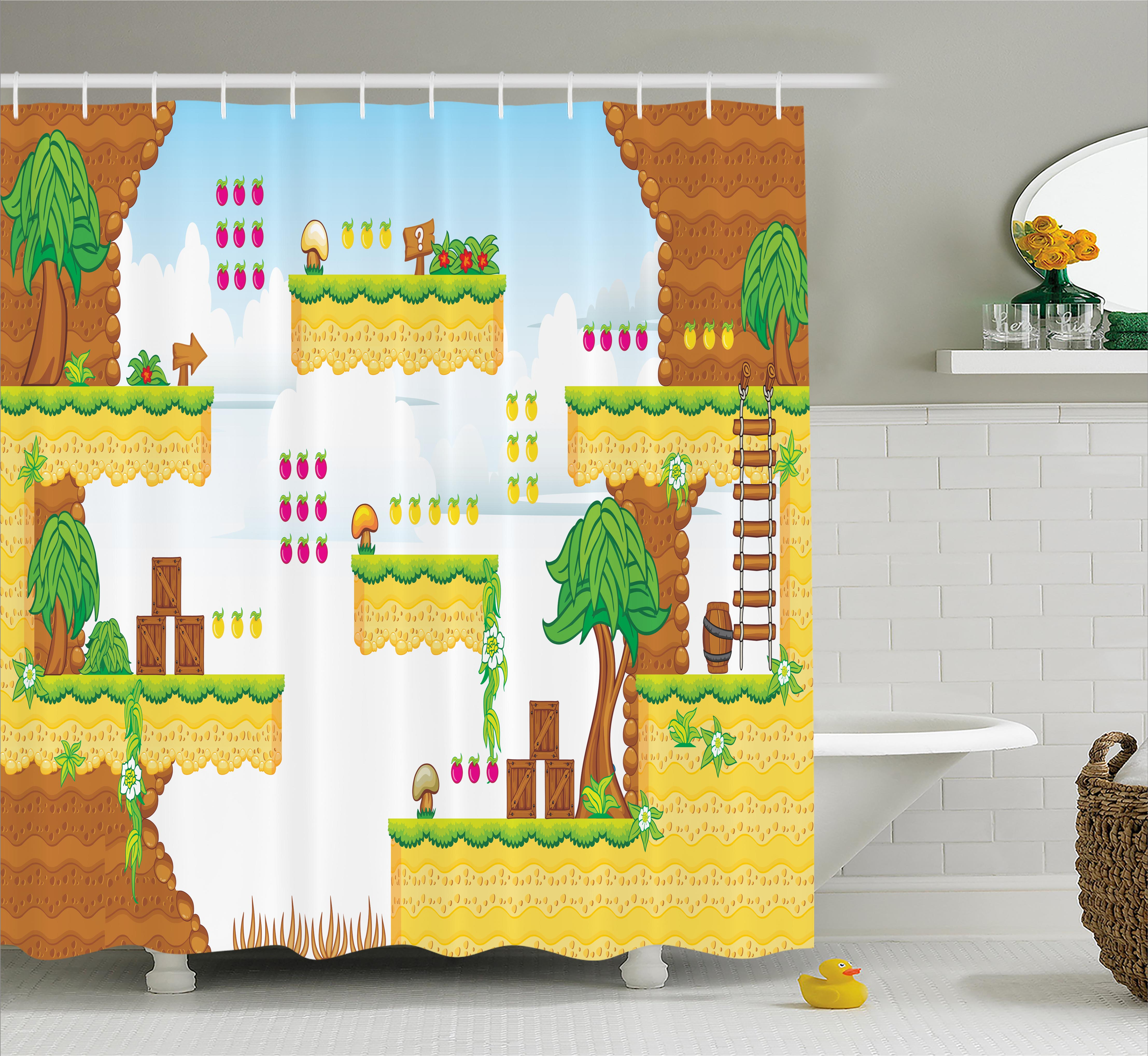 Video Games Shower Curtain, Cartoon Retro Computer Graphic Kids Western  Design Box Cloud Fun Adventure 90's, Fabric Bathroom Set with Hooks, 69W X  70L