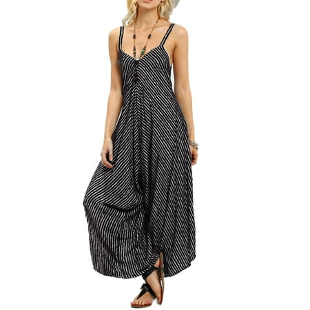Women's Jumpsuits V Neck Pinstriped Wide Leg Pants - Ted Jumpsuit
