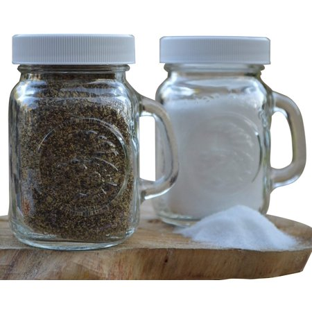Golden Harvest Ball Mason Jar Clear Glass Salt and Pepper Shakers with White Lids (Set of