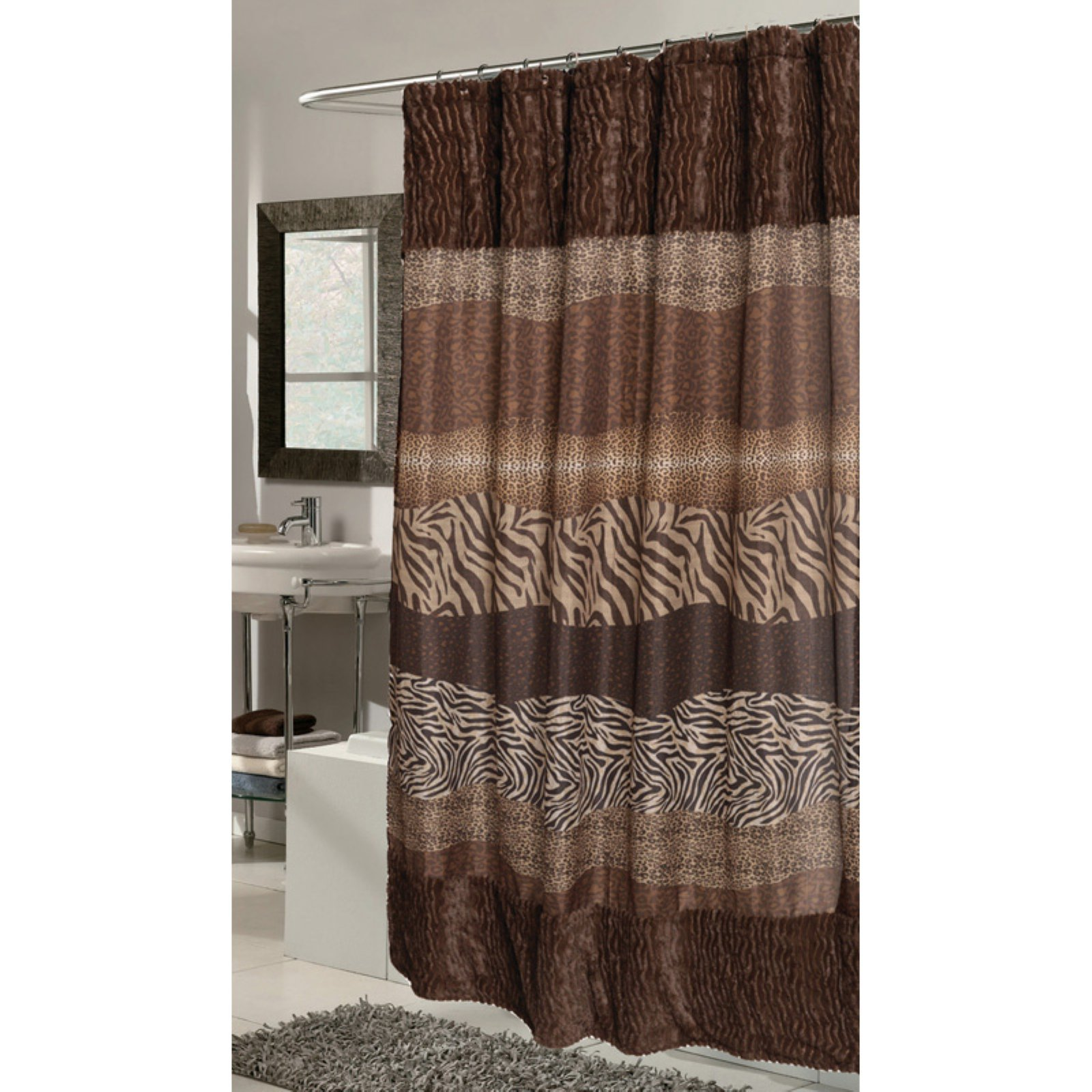 "Felina"" Faux Fur-Trimmed Shower Curtain"
