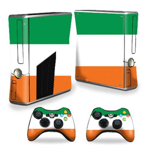 Skin Decal Wrap Cover for Xbox 360 S Slim + 2 controllers Irish Flag