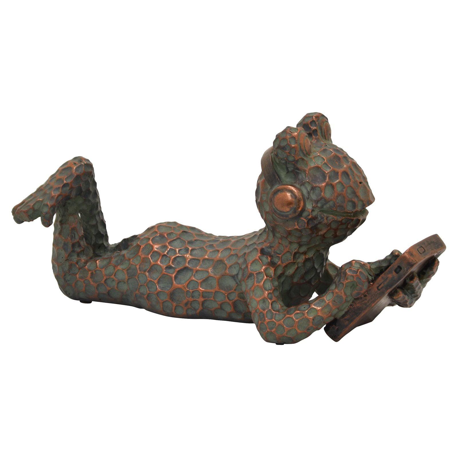 Three Hands Frog with Headphones Tabletop Sculpture
