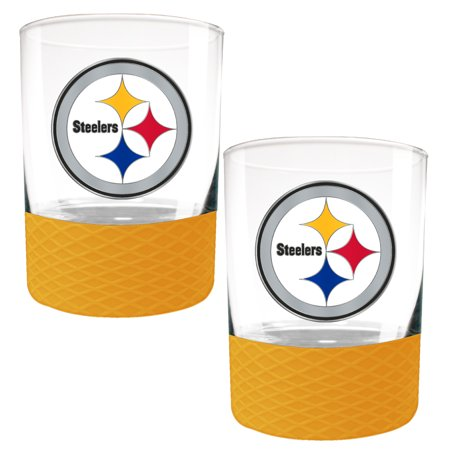 Pittsburgh Steelers Rocks Glass - Pittsburgh Steelers 2-Pack 14oz. Rocks Glass Set with Silcone Grip - No Size