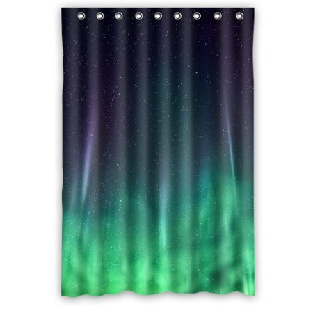 HelloDecor Neon Green Space Nebula Universe Galaxy Background Shower Curtain Polyester Fabric Bathroom Decorative Size 48x72 Inches