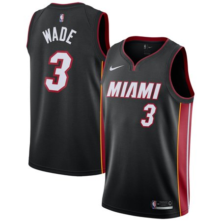 - Dwyane Wade Miami Heat Nike Replica Swingman Jersey - Icon Edition - Black