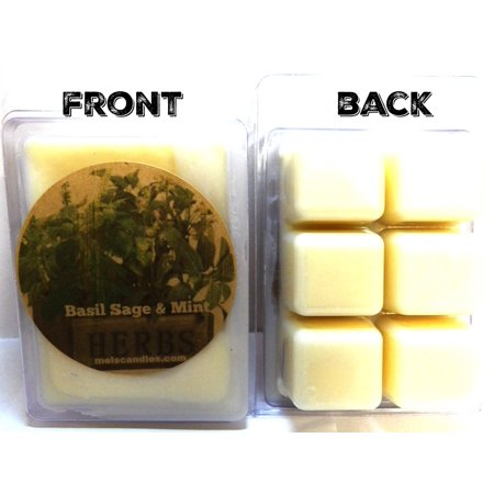 Basil Sage and Mint 3.2 Ounce Pack of Soy Wax Tarts (6 Cubes Per Pack) - Scent Brick, Wickless Candle