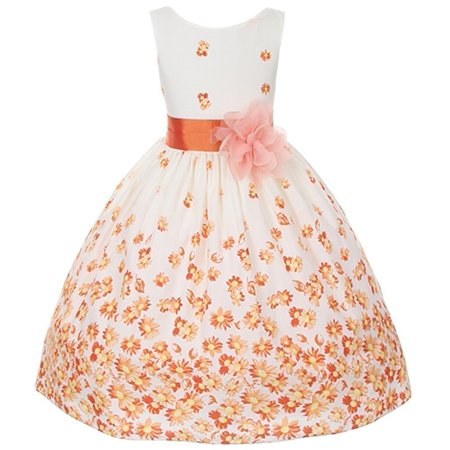 Little Girls Orange White Daisy Special Occasion Dress 4T