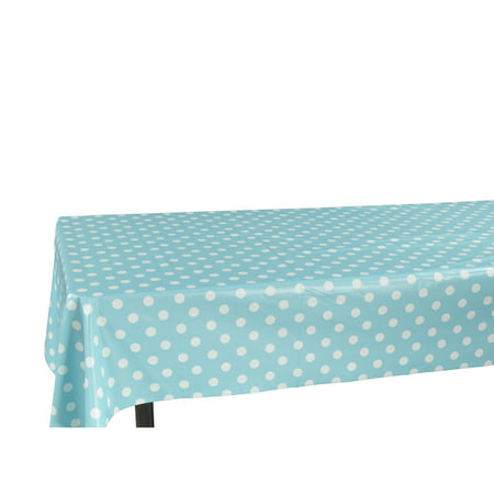 Berrnour Home Vinyl Tablecloth Polka Dot Design Indoor/Outdoor Tablecloth with Non-Woven Backing for $<!---->