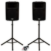 """Podium Pro PP1503A DJ 15"""" Powered Speakers Bluetooth and Stands PA Karaoke Band"""