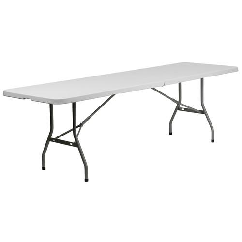Flash Furniture 30''W x 96''L Bi-Fold Granite White Plastic Folding Table by Flash Furniture