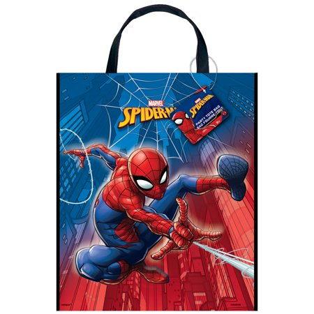 Large Plastic Spiderman Goodie Bag, 13 x 11 in, 1ct (Spider Man Bag)