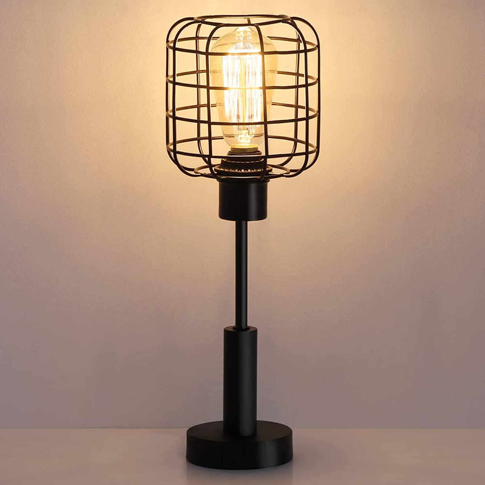 Haitral Modern Table Lamp Edison Vintage Nightstand Lamp For Bedroom Office Dorm Living Room Black Walmart Com Walmart Com