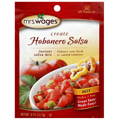 Mrs. Wages Create Habanero Salsa Hot Seasoning Mix, 0.8 oz, (Pack of 12)