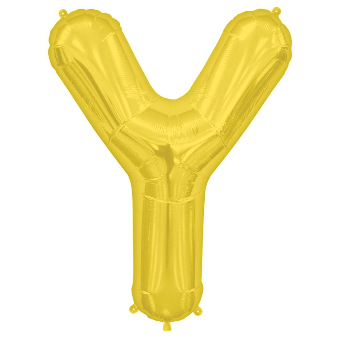"Northstar Alphabet Letter Y Shape Solid Jumbo Helium 34"" Foil Balloon, Gold"