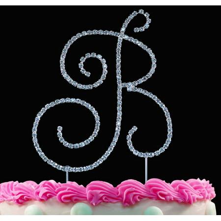 Crystal Monogram - Yacanna Swirl Design Crystal Monogram Cake Toppers Silver Cake Initial B Large