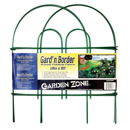 Garden Zone Green (Garden Zone 041808 Gard\'n Border Round Top Folding Fence, Green, 18