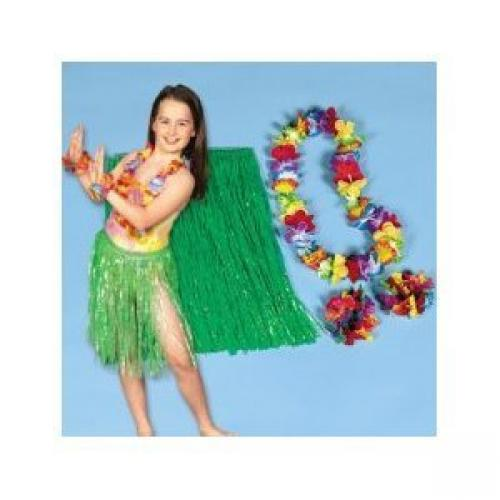 Child Hula Kit - 4 Pc Set Includes Hula Skirt, Flower Lei and 2 Lei Bracelets by SmallToys