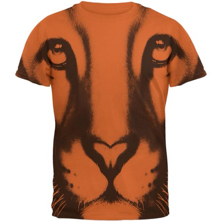 Mountain Lion Cougar Ghost Face Texas Orange Adult T-Shirt