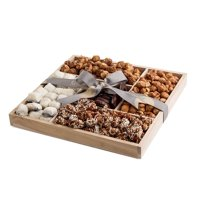 The Nuttery Premium Sweet Nuts and Rich Gourmet Chocolate Gift Basket- Wooden Tray Sectional-Nuts and Chocolate Mix