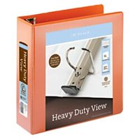 "Office Depot® Brand Heavy-Duty Easy Open® D-Ring View Binder, 3"" Rings, 54% Recycled, Orange"
