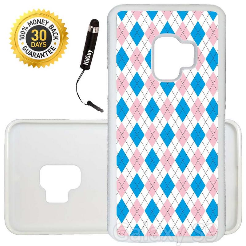 Custom Galaxy S9 Case (Blue Pink Argyle Pattern) Edge-to-Edge Rubber White Cover Ultra Slim | Lightweight | Includes Stylus Pen by Innosub