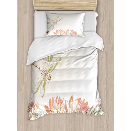Dragonfly Duvet Cover Set, Lotus Flower Field with Dragonfly Flying Oriental Blooms Artful Print, Decorative Bedding Set with Pillow Shams, Cream Peach Coral, by Ambesonne ()