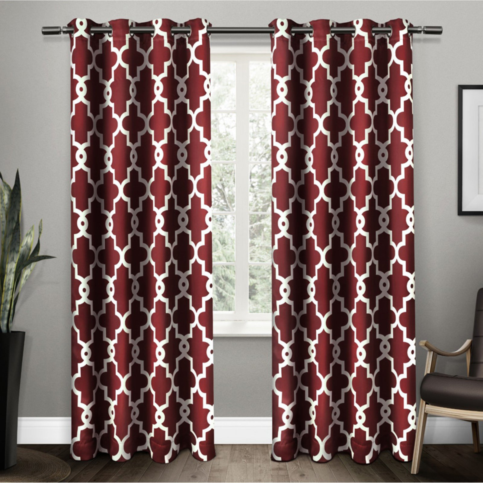 Exclusive Home Ironwork Sateen Woven Blackout Thermal Grommet Top Window Curtain Panel Pair, Burgundy, 5284