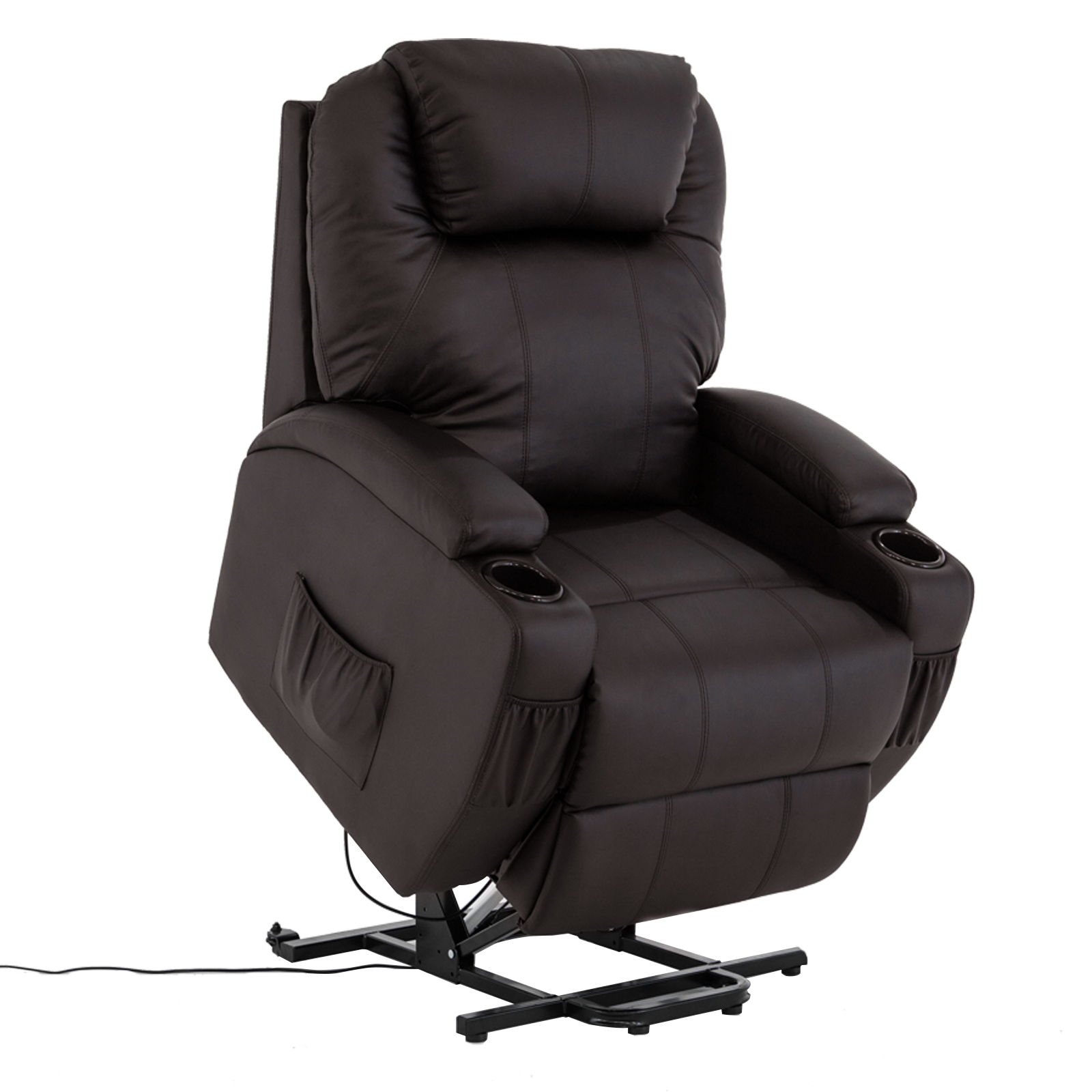 Mecor Power Lift Chair Recliner Armchair Real Leather Wall Hugger Lounge  Seat ,Brown