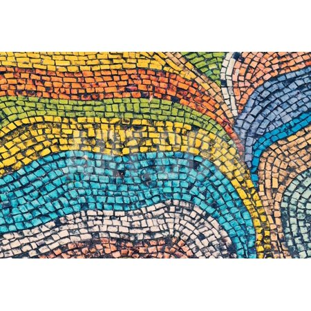 Detail of Beautiful Old Collapsing Abstract Ceramic Mosaic Adorned Building. Venetian Mosaic as Dec Print Wall Art By Elena Larina