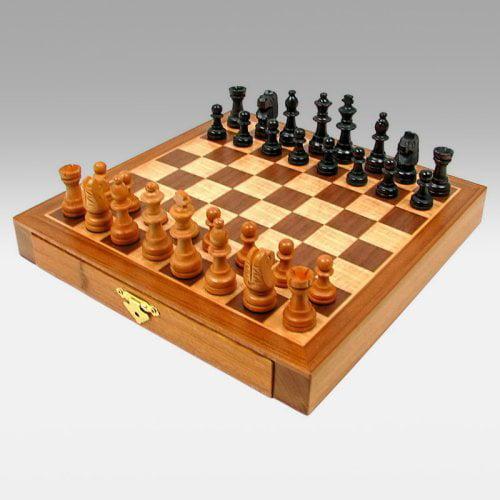 Trademark Games Inlaid Wood Cabinet with Staunton Wood Chessmen