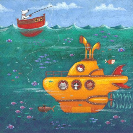 Yellow Submarine Whimsical Animal Ocean Seascape Children's Room Print Wall Art By Peter - Ocean Animal Craft