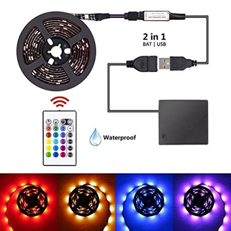 Led strip lights battery powered usb operated 2 in 1 xyop led strip lights battery powered usb operated 2 in 1 xyop waterproof rgb led lights aloadofball Choice Image