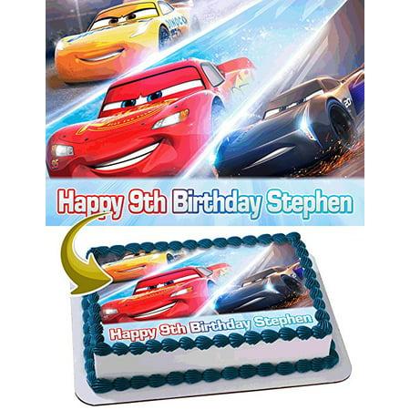 Cars 3 Disney Pixar Edible Cake Topper Personalized Birthday 1/2 Size Sheet Decoration Party Birthday Sugar Frosting Transfer Fondant Image - Disney Cars Cake