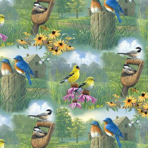 VIP Fabrics Spring Birds Scenic Fabric