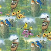 V.I.P by Cranston Spring Birds Scenic Fabric, per Yard