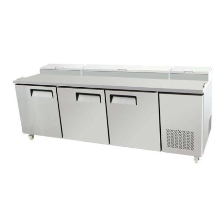 "93"" 3 Door Commercial Refrigerated Pizza Salad Sandwich Prep Station Table, 26 Cubic Feet, for Restaurant"