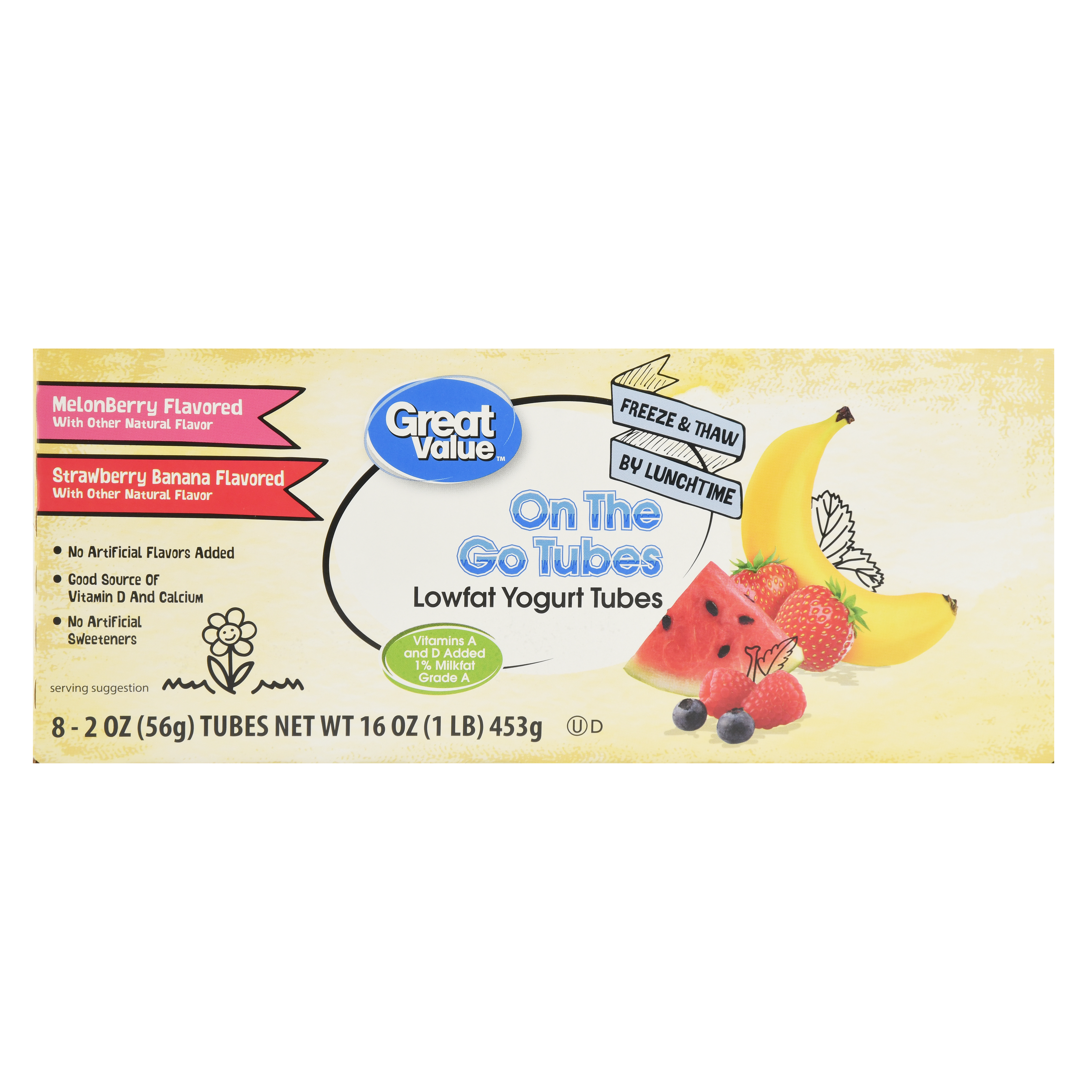 Great Value Low Fat Strawberry Banana & MelonBerry Yogurt Tubes