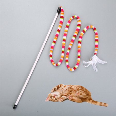 Outtop Kitten Cat Pet Toy Chaser Stick Rainbow Streamer Interactive Play Fun Toys