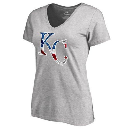 Kansas City Royals Fanatics Branded Women's 2019 Stars & Stripes Banner Wave V-Neck T-Shirt - Heather Gray