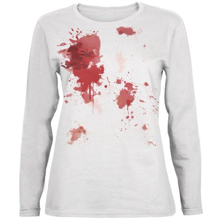 Blood Splatter White Womens Long Sleeve T-Shirt](Halloween Blood Splatter Clothes)