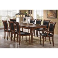Indoor Black and Brown Traditional 9pc Dining Set with a Solid Rectangular Dining Table and 8 Upholstered Dining Chairs