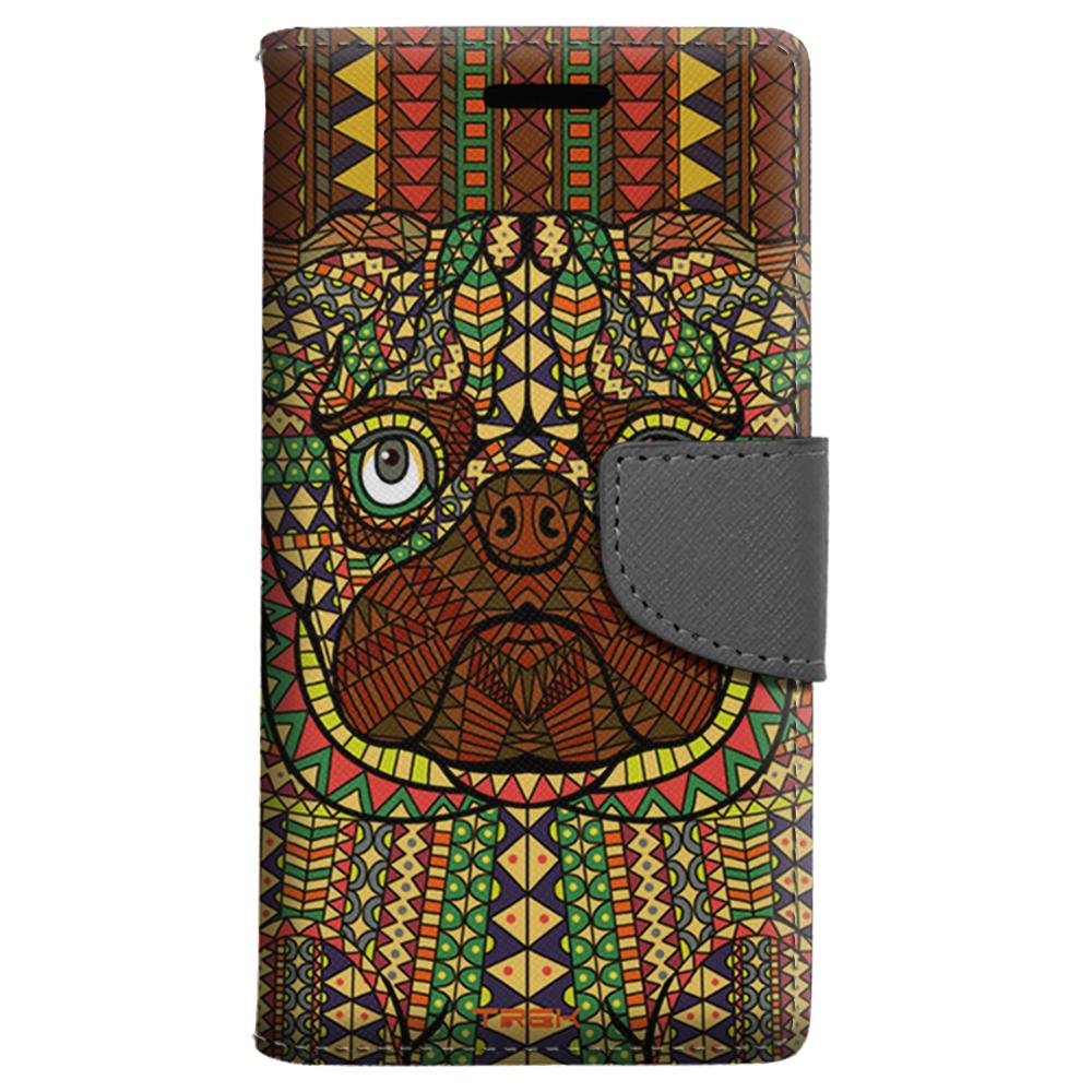 ZTE Grand X 3 Wallet Case - Aztec Pug Head Orange Case